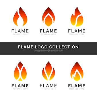 Set of six flame logos in flat design