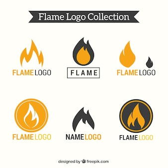 Set of six flame logos