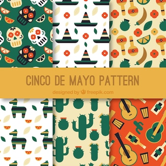 Set of six flat patterns with traditional mexican elements