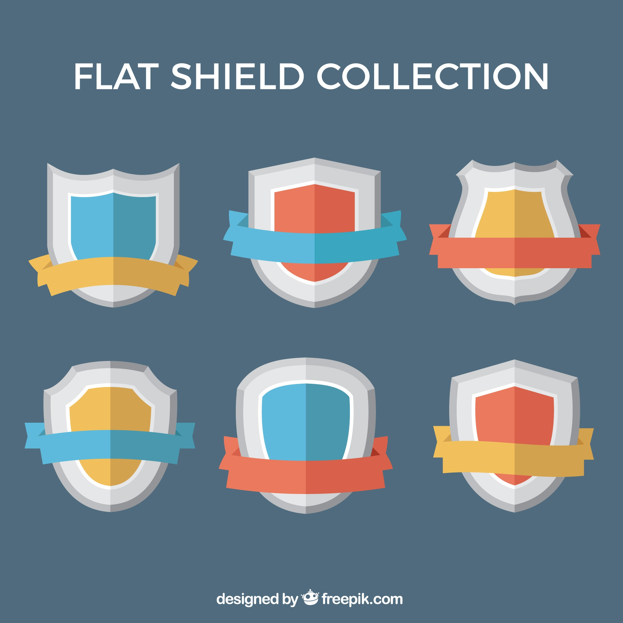 Set of six flat shields with colored ribbons