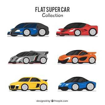 Set of six modern cars in flat design