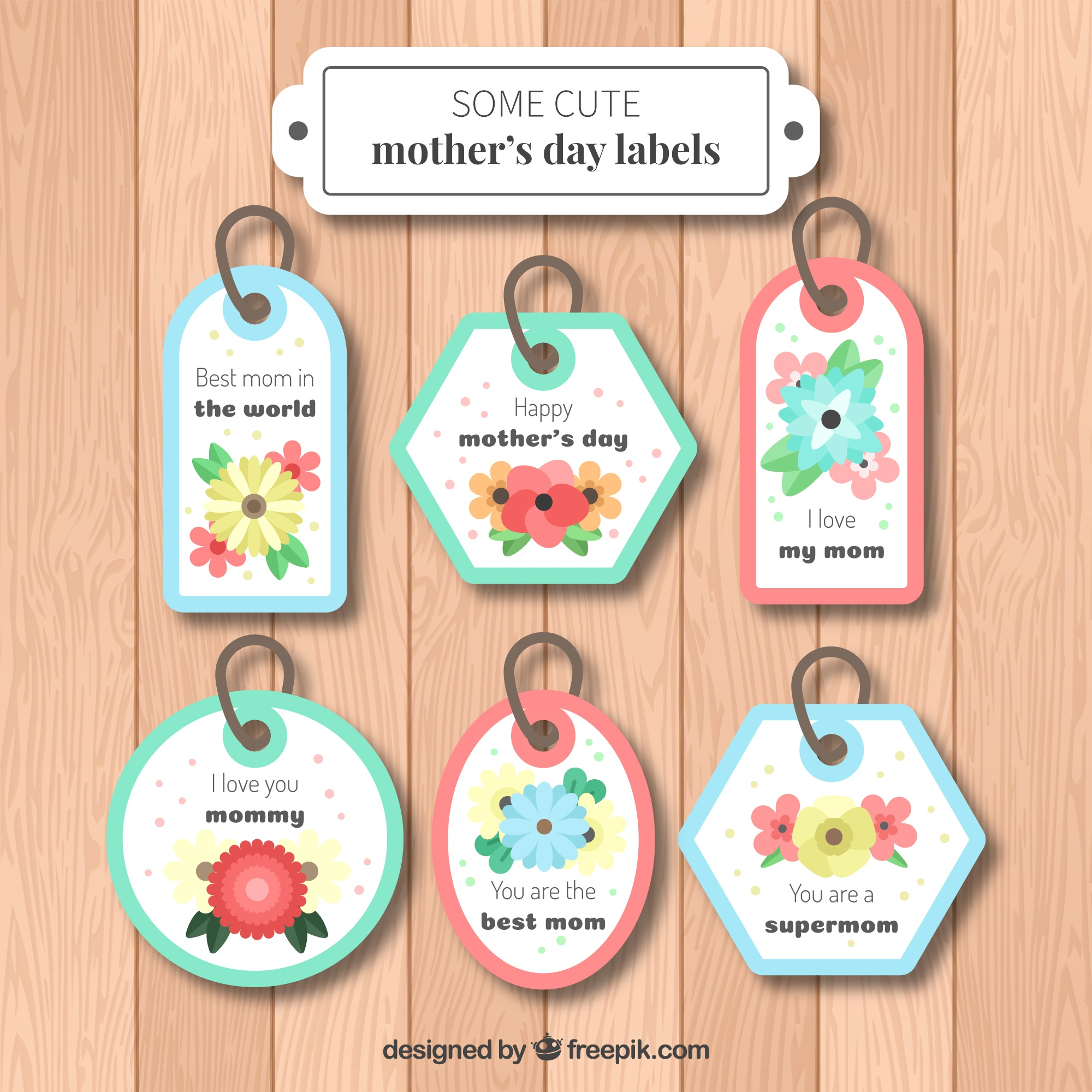 Set of six mother's day labels with colored flowers