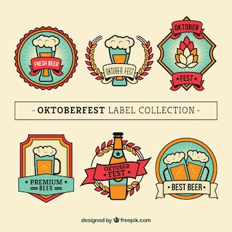 Set of six oktoberfest vintage stickers