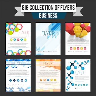 Набор из шести профессиональных листовки бизнес, шаблон или брошюра с абстрактным дизайном