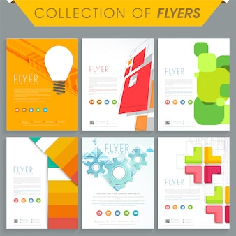 Set of six professional flyers or templates with abstract design for business concept
