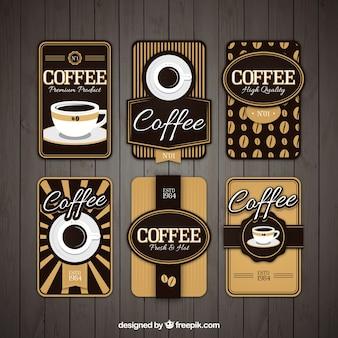 Set of six retro cafe stickers