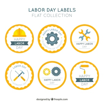 Set of six round labor day stickers