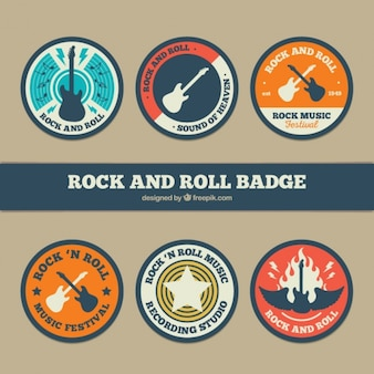 Set of six round rock and roll badges