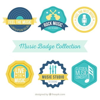 Set of six vintage music stickers