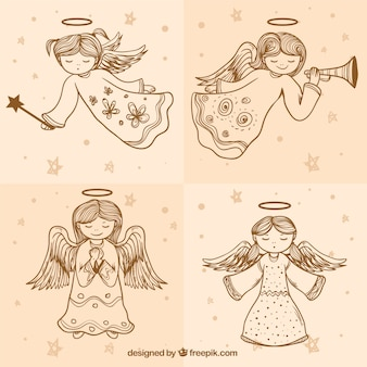 Set of sketches cute angels