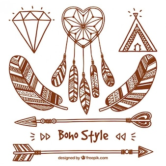 Set of sketches elements in boho style