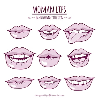 Set of sketches lips