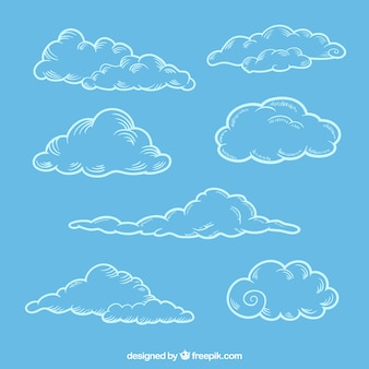 Set of sketches of fluffy clouds