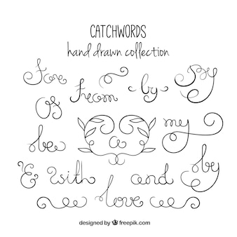 Set of sketches ornamental catchwords