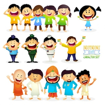 Set of smiling characters for indian independence day