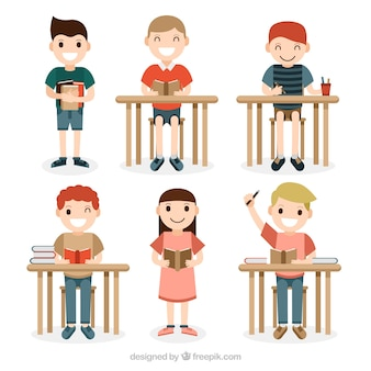 Set of smiling students in class
