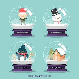 Set of snowballs with christmas characters