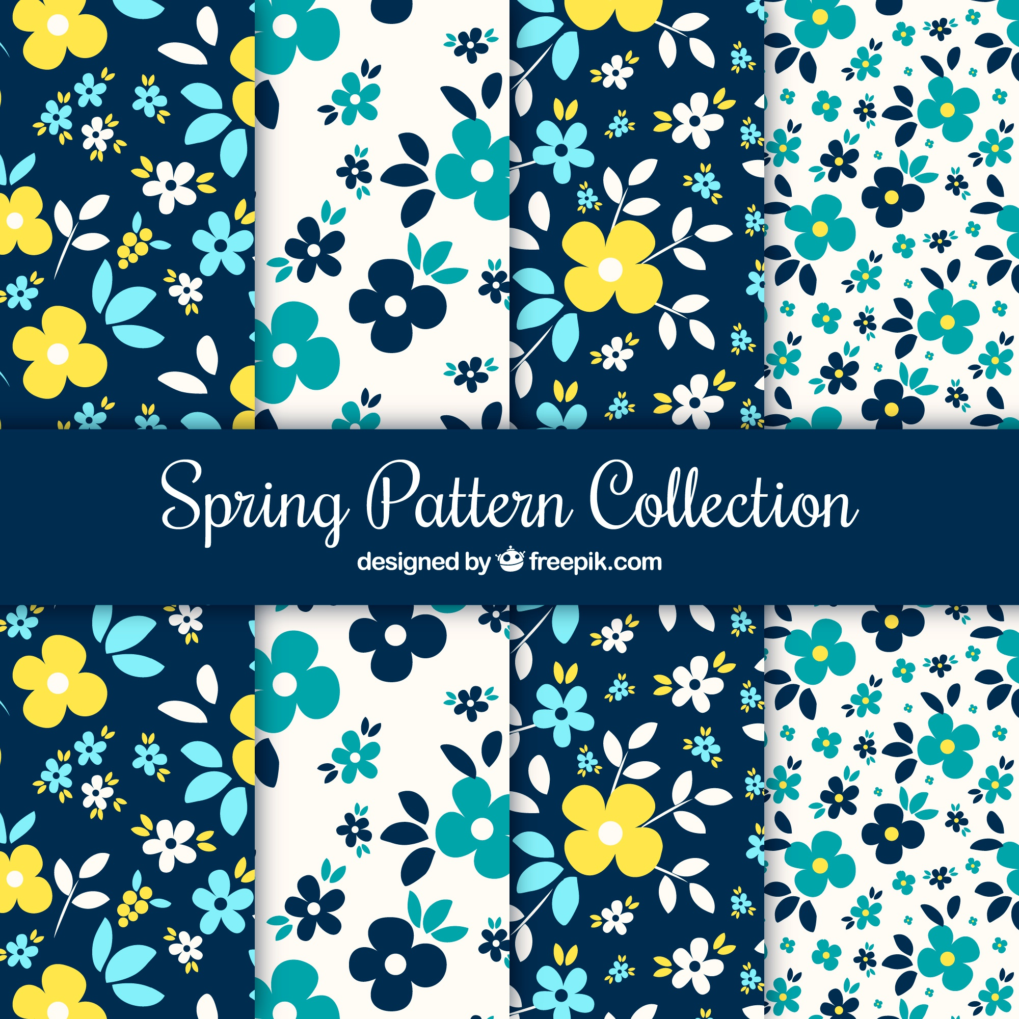 Set of spring patterns with blue and yellow flowers