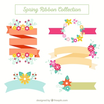 Set of spring ribbons with floral details