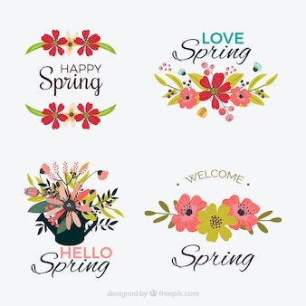 Set of spring stickers with floral details