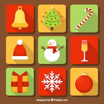 Set of squares with christmas elements in flat design
