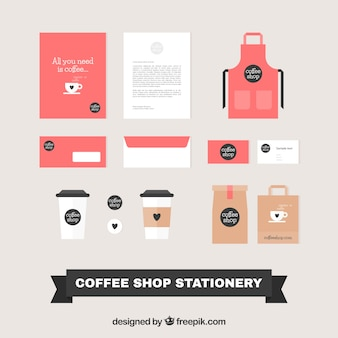 Set of stationery for coffee
