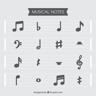 Set of staves and musical notes in flat design