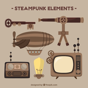 Set of steampunk elements