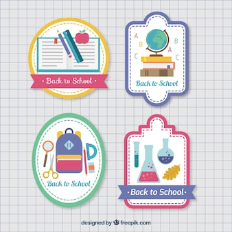 Set of stickers for back to school in flat style