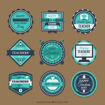 Set of stickers in blue tones for the teacher's day