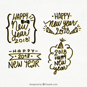 Set of stickers of hand drawn happy new year 2018