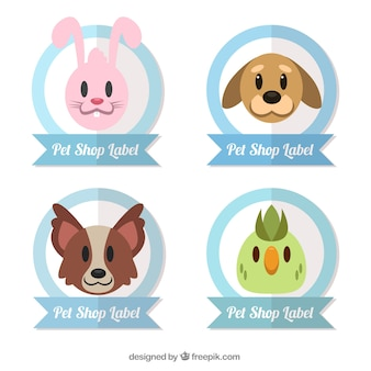 Set of stickers with nice animals