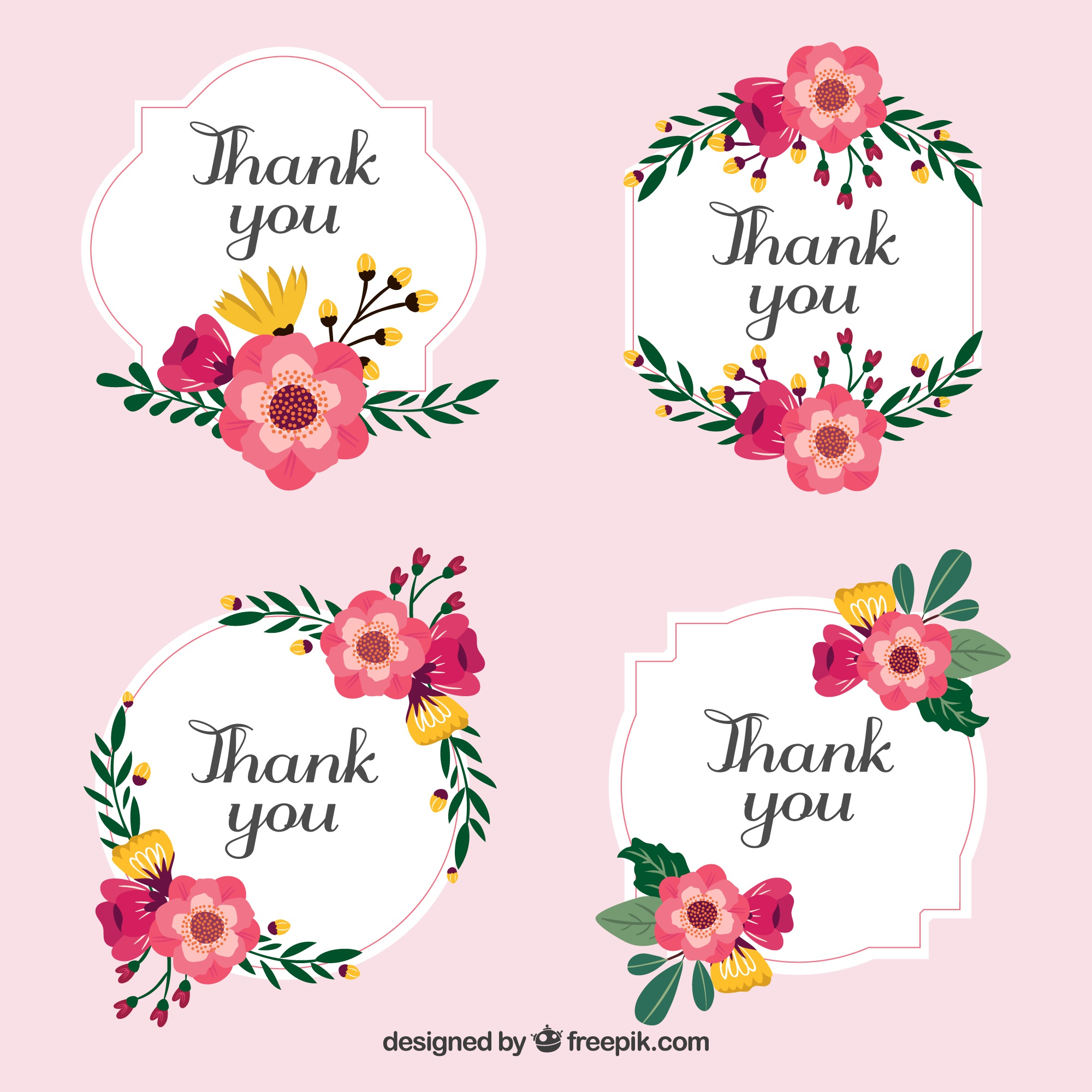 Set of stickers with thank-you flowers in vintage style
