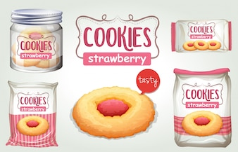 Set of strawberry cookies in different packages