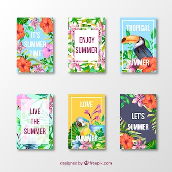 Set of summer exotic cards with positive messages