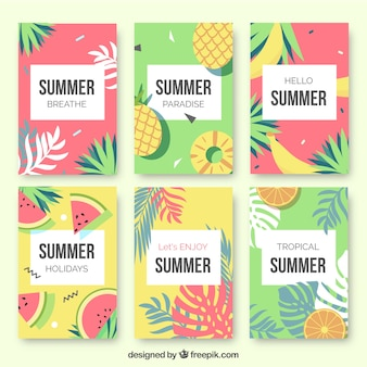 Set of summer fruit cards and palm leaves