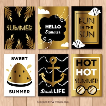 Set of summer gold cards