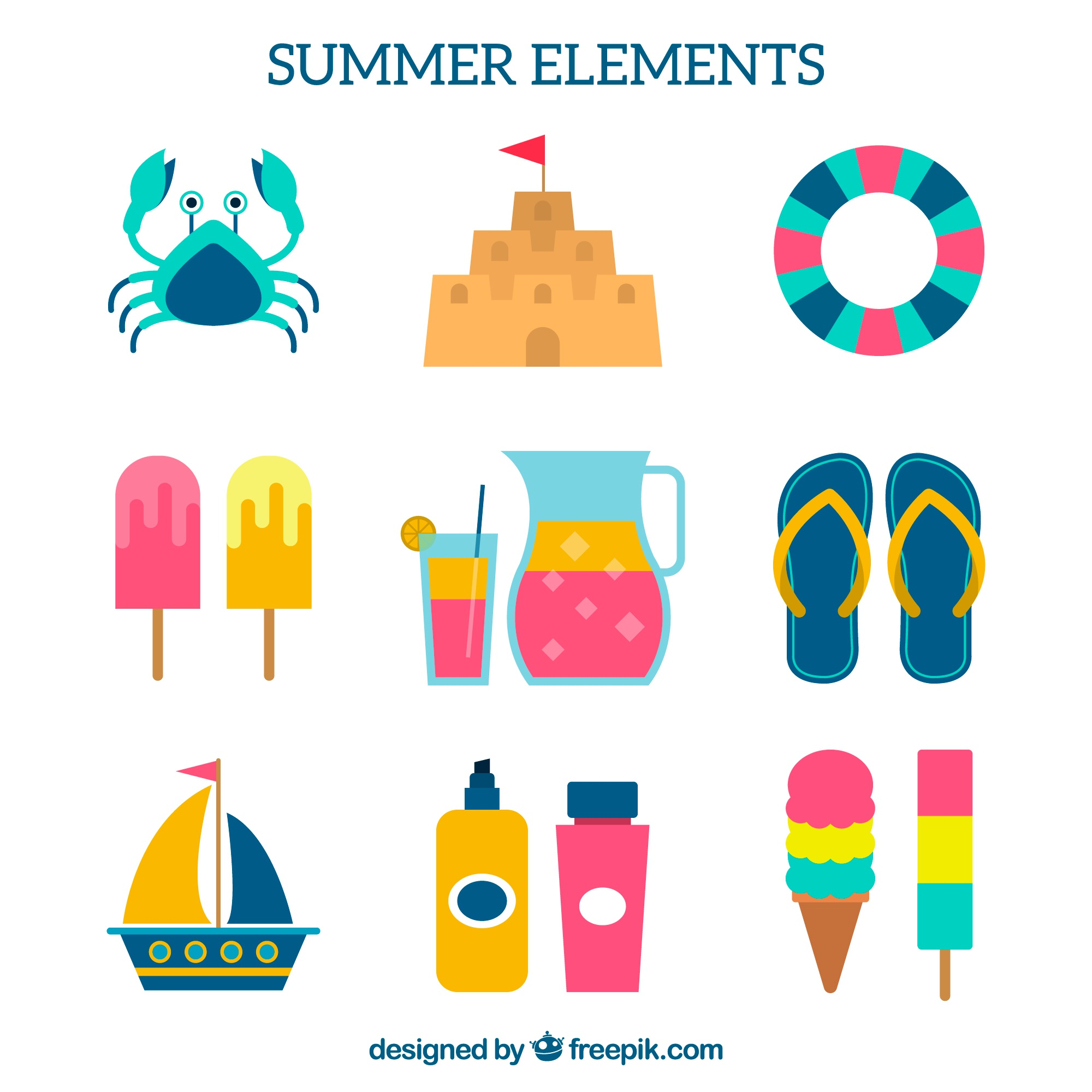Set of summer objects with fantastic colors