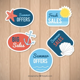Set of summer offers labels