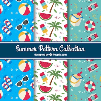 Set of summer patterns with great objects in flat design