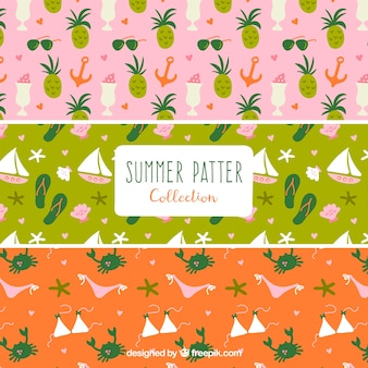 Set of summer patterns with hand-drawn elements
