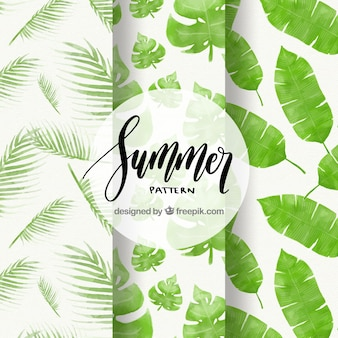 Set of summer patterns with watercolor palm leaves