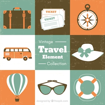 Set of summer travel accessories in retro style
