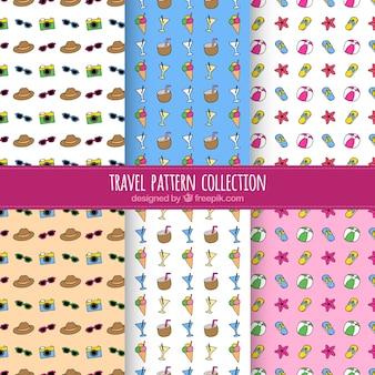 Set of summer travel patterns