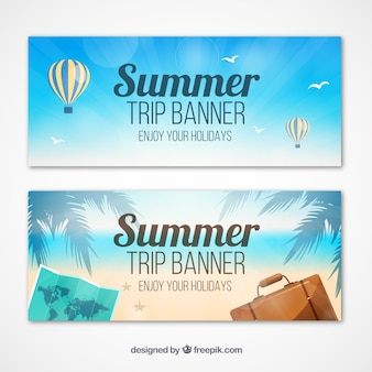Set of summer trip banners with elements