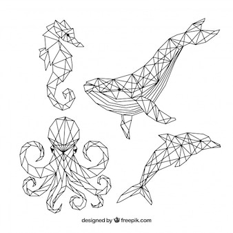 Set of tattoos with sea creatures