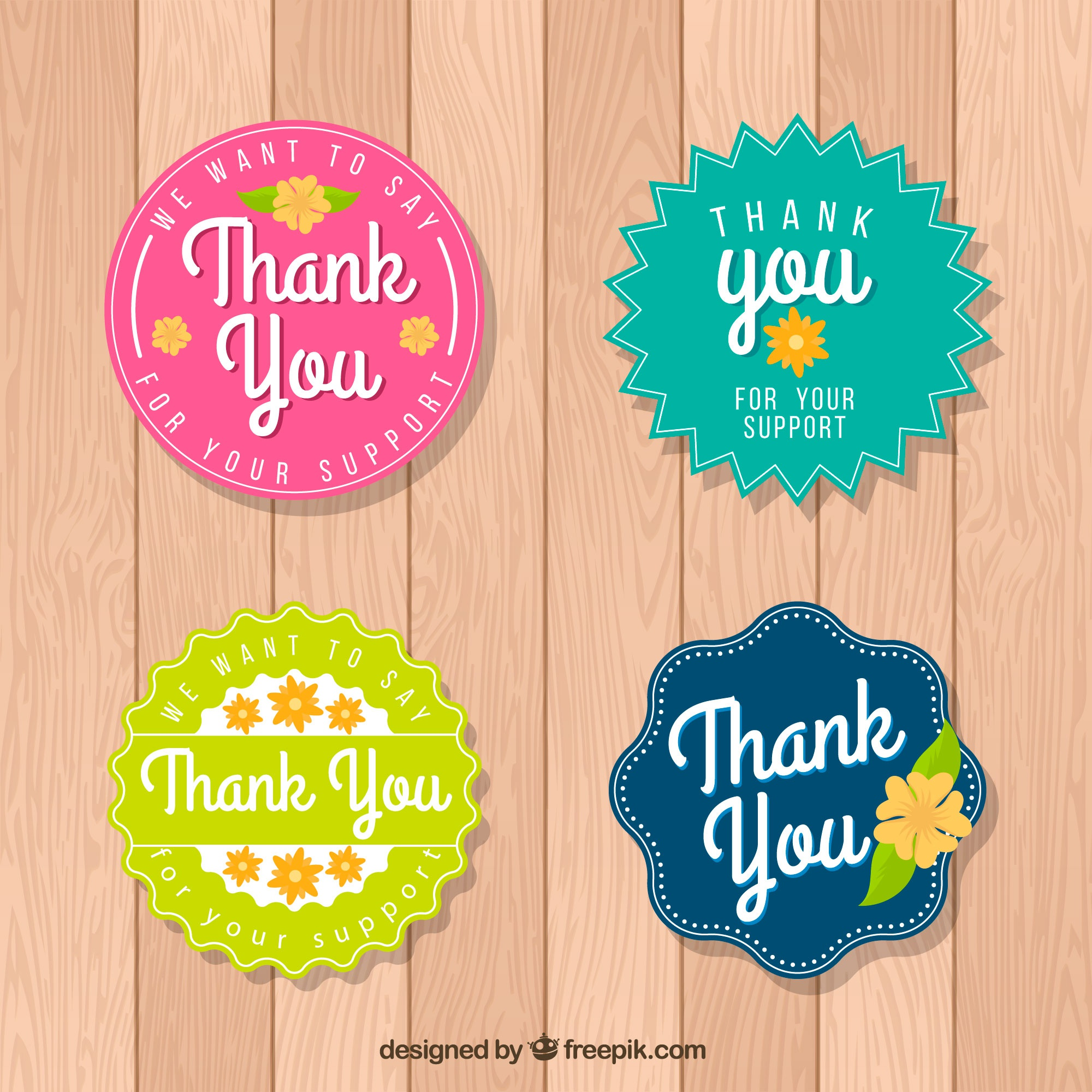 Set of thank you stickers in retro style