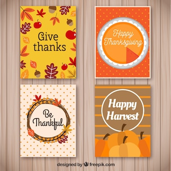 Set of thanksgiving cards with natural elements