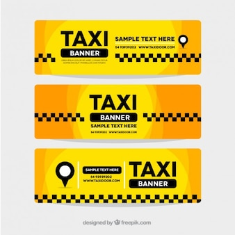Set of three abstract yellow taxi banners