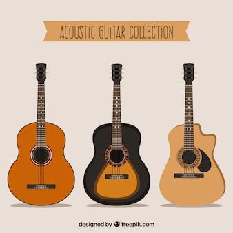 フラットデザインの3つのアコースティックギターのセット